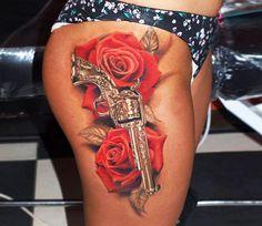 Realistic Flowers Tattoo by Jurgis Mikalauskas Tattoo | Tattoo No. 13437