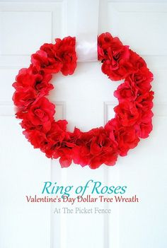 Ring of Roses Dollar Tree Wreath Tutorial from At The Picket Fence