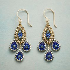 """PARISIAN NIGHTS EARRINGS--By Miguel Ases, Swarovski crystals and Japanese Miyuki beads mingle in midnight blues and glittering gold. 14kt gold-filled wires. USA. Exclusive. 1-7/8""""L."""
