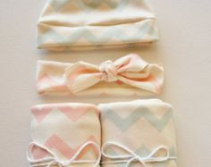 Boy and Girl Chevron Twin Set - Blanket, Newborn Hat, headband - Pink and Blue Chevron - Swaddle Blanket - Organic Cotton Knit - Baby Hat