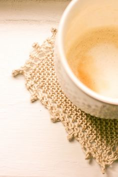 flax & twine: Cozy Linen Coasters - A Quick Knit Gift