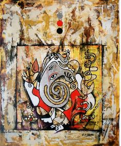 Buy Religious Painting, ganesha painting on Canvas Size : 24 inch x 30 inch Online from Bhadrakant Shah, Abstract Modern Ganesha Art, Visit : http://www.fizdi.com/brands/Bhadrakant-Shah.html