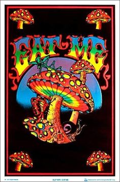 23 x 35 velvet black light poster. Down the rabbit hole and take a trip with the trippy eat me mushroom fuzzy velvet black light poster. Trippy Drawings, Psychedelic Drawings, Psychedelic Decor, Psychedelic Posters, Hippie Painting, Trippy Painting, Hippie Wallpaper, Trippy Wallpaper, Arte Hippy