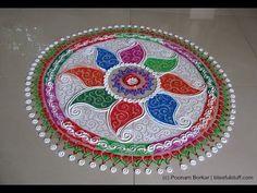 Multicolored rangoli with paisley pattern | Creative and unique rangoli design by Poonam Borkar - YouTube