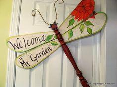 garden sign table leg dragonfly