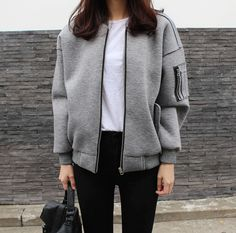 Gray bomber jacket style black and white simple outfit km