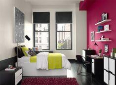petite chambre enfant avec un mur rose