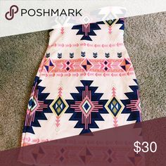 Aztec print strapless dress Added bust not listed brand tagged for views no listed size but should fit an xs/s ✖️I don't trade Sabo Skirt Dresses Strapless