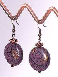 https://flic.kr/p/dnFoGb | Purple polymer clay earrings | Handmade purple…