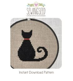 Black Cat Cross Stitch Pattern Instant Download by Sewingseed