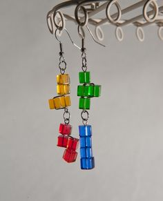 They're falling tetris block earrings! by caresnia on etsy