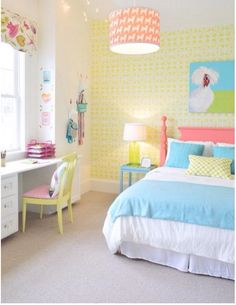 Young House Love big girl room - like bright headboard and built in desk Dream Rooms, Dream Bedroom, Bedroom Colors, Bedroom Decor, Wall Decor, Colourful Bedroom, Bedroom Yellow, Bedroom Table, Boy Decor