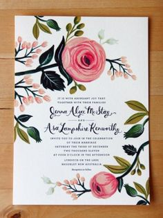 Invitation - Love the ranunculus flower detail and font