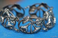 Vintage 925 Sterling Silver Danecraft Tulip Flower Link Bracelet