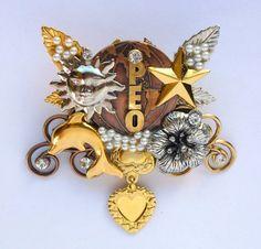 Peo Sisterhood International Pin Brooch Gold Caramia | eBay