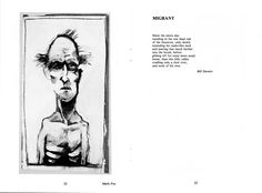 Cadenza - Spring 1985 - Pages 22 & 23 - mixed media by Mark Fox - Migrant, poem by Bill Dawers