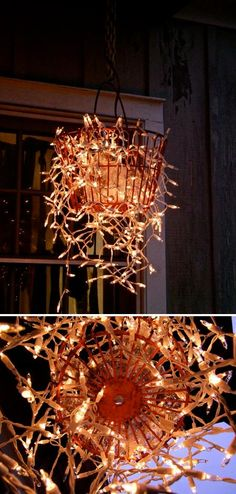 Make a chandelier from an old basket