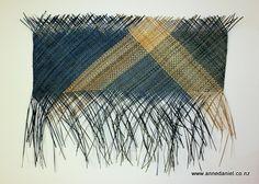 """Te Tai o Poutini"" -  85cm x 93cm $425 handwoven, natural and dyed harakeke (NZ flax - phormium tenax)  © Anne Daniel 2014"