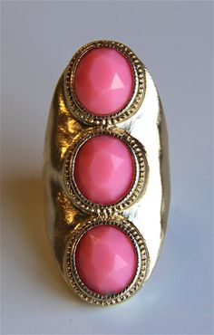 Hard Gold Pink Stone Knuckle Ring - $18