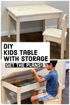 Learn how to build a DIY kids desk with storage and matching chair with this easy woodworking tutorial. It is an easy beginner woodworking project perfect for school from home or homeschooling. Great for little elementary aged kids. #anikasdiylife #woodworkingplans