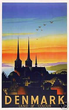 Another cool 1930s travel poster for DK! I love the colors.