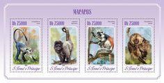 Post stamp São Tomé and Príncipe ST 14513 aMonkeys (Cercopithecus mona, Logothrix logotricha, Piliocolobus kirkii, Theropithecus gelada)
