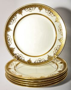 Set of 6 Opulent Antique Vintage Dinner Plates, Minton for Tiffany, from antiques-uncommon-treasure on Ruby Lane