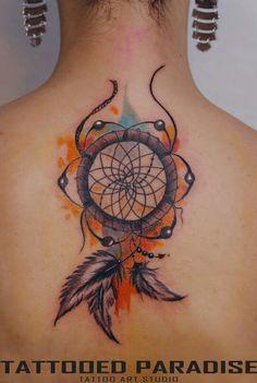 Dreamcatcher tattoo watercolor... love the orange and blue fade to purple