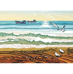 A fine art greeting card by printmaker Rob Barnes, blank inside for your own message. Our greeting cards are printed on beautiful, premium FSC-approved board. Artistic Photography, Art Photography, Seaside Art, Art Diary, New Print, Art World, Printmaking, Screen Printing, Greeting Cards