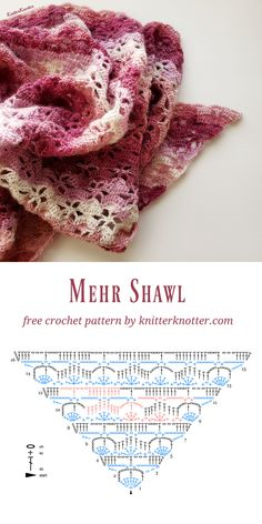 Mehr Shawl - Free crochet pattern for a delicate lace shawl with a lovely drape. One Skein Crochet, Crochet Shawl Free, Crochet Shawls And Wraps, Crochet Chart, Easy Crochet Patterns, Crochet Scarves, Crochet Stitches, Shawl Patterns, Knitting Patterns