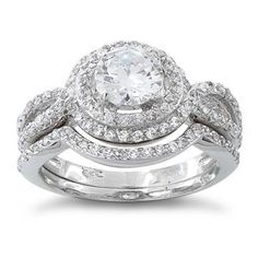 Sterling Silver Halo CZ Wedding Set Ring 2 Piece Set  Sizes 4 to 10 $30.99