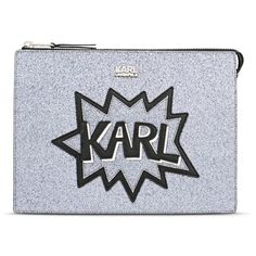 Karl Lagerfeld K/Pop Pouch (£99) ❤ liked on Polyvore featuring bags, handbags, clutches, black, glitter purse, silver handbags, zipper handbag, embellished handbags and silver purse