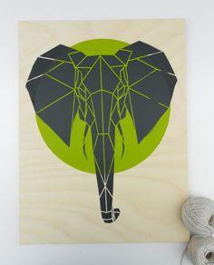 Geometric Elephant on Plywood large size stencil art door Stencilize, €70.00