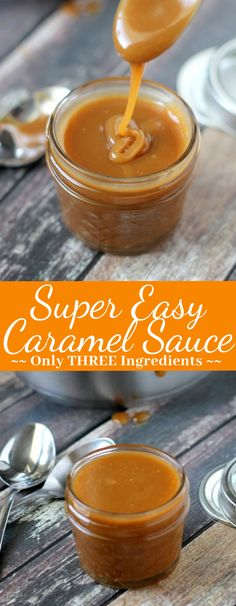Perfect for desserts, this Super Easy Caramel Sauce has only 3 ingredients and takes only a few minutes to make! This caramel sauce is the BEST! easy 3 ingredients easy for a crowd easy healthy easy party easy quick easy simple Dessert Sauces, Köstliche Desserts, Delicious Desserts, Dessert Recipes, Yummy Food, Dinner Recipes, Caramel Recipes, Candy Recipes, Baking Recipes
