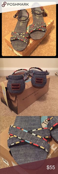 🎉2xHP🎉NIB TOMS Correa Chambray Sandal 🎉🎉HOST PICK: WEEKEND WARRIOR 7/23/16 & BEST IN SHOES 7/24/16🎉🎉Brand new, in original box, TOMS Correa sandal in chambray with multi-colored accents. Super cute and comfy sandals have a slight wedge at the heel. Perfect for summer and will compliment any outfit! Front crossing straps and strap around ankle with buckle closure. Comes with TOMS sticker! TOMS Shoes Sandals