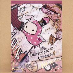 cute Sentimental Circus Memo Pad bunny & musical notes