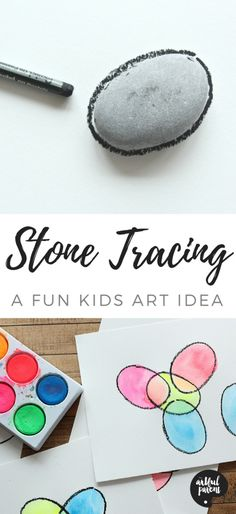 This stone tracing art for kids encourages the development of fine motor skills in children. It's also a fun way to learn color mixing! #tracingart #tracingartprojects #tracingactivities #rockartkids #kidsart