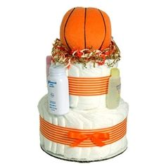 Love it!!! Basketball Diaper Cake!!