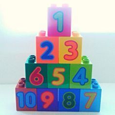Lego Duplo Number Bricks 1-10 in various colours available on ebay.