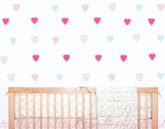 Hearts Wall Decal Stickers - Set of 40 Heart decals - Reusable Fabric Decals - Pink Heart Wall Art f Wall Decal Sticker, Vinyl Decals, Heart Wall Art, Change Your Mind, Custom Design, Stickers, Fabric, Pink, Products