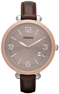 Fossil Heather Brown Dial Stainless Steel Brown Leather Ladies Watch ES3132 $81.11