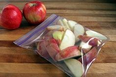sliced apples   soak in cold water for 3 minutes, then soak in a lemon carbonated soda (such as 7-up/sprite/lemon squash) 5 minutes. Store in Ziploc bags in the fridge.   The soda keeps the apple from going brown.