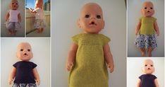 For en god stund siden så jeg en oppskrift på en kjole til Babyborn som var så fin. Jeg måtte lete litt etter den for å finne den igjen, me... Knitting Dolls Clothes, Knitted Dolls, Barbie Clothes, Diy Clothes, Doll Patterns, Knitting Patterns, Baby Barn, Our Generation Dolls, Bear Doll