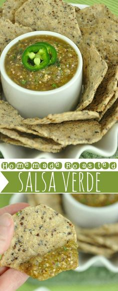 Throw a fiesta in your face with this zesty roasted tomatillo salsa verde :: Nothing beats homemade salsa!