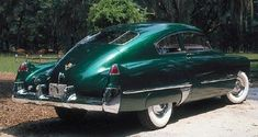 1948 Cadillac Torpedo Back Coupe, Starburst Green Metallic.