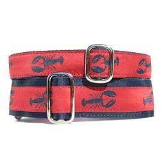 Lobster Navy + Red Dog Collar - Exclusive Design! | Classic Hound Collar Co. #dogcollar #handmade #handcrafted #madeinUSA #madeinamerica #seaside #ocean #nautical #crustacean #lobster #maine