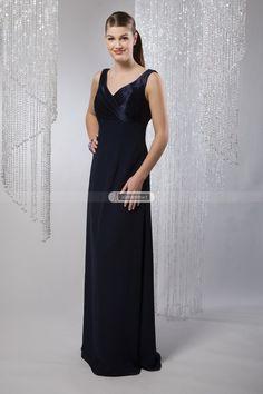 #idreammart #navyblue #birdesmaid #dress #freeshipping Classic Dark Navy Satin Bridesmaid Dress with Flowing Chiffon Skirt - iDreamMart.com