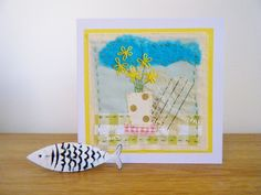 Spring flowers hand stitched card by BluePebbleStudio on Etsy