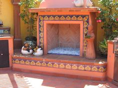 Outdoors Fireplace Decorated Using Mexican Tile, Mexican Home Decor Gallery. Mission Accesories, Copper Sinks, Mirrors, Tables And More - sublime decor Mexican Style Homes, Mexican Home Decor, Southwest Decor, Southwest Style, Estilo Colonial, Mexico House, Hacienda Style, Mexican Hacienda, Fireplace Design