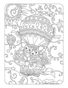 up up and away cats in hot air balloon ~ Pampered Pets Adult Coloring Book by Marjorie Sarnat Davlin Publishing Coloring Pages For Grown Ups, Free Adult Coloring Pages, Cat Coloring Page, Animal Coloring Pages, Printable Coloring Pages, Coloring For Kids, Colouring Pages, Coloring Books, Cat Colors